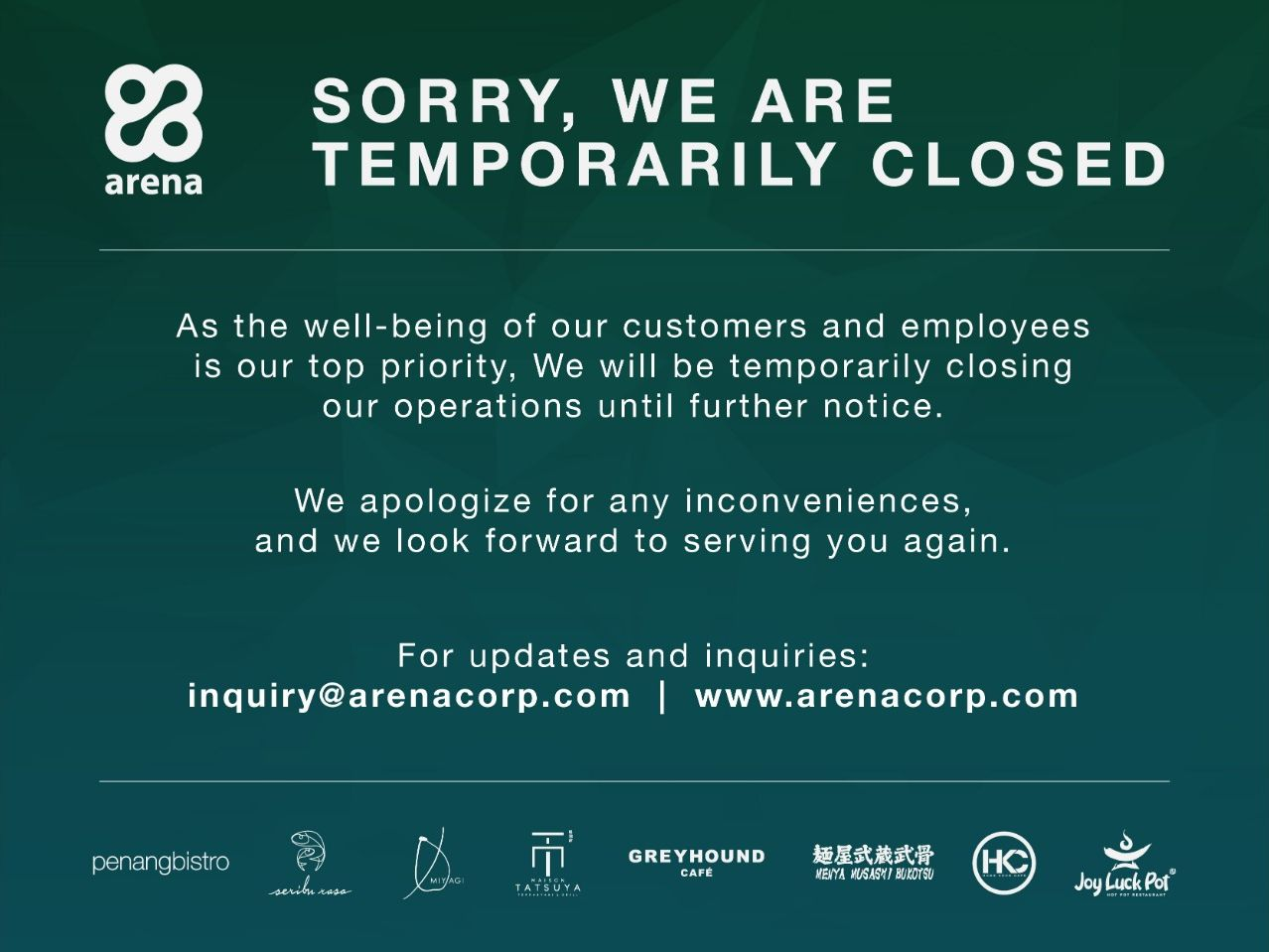 SORRY, WE ARE TEMPORARILY CLOSED! image